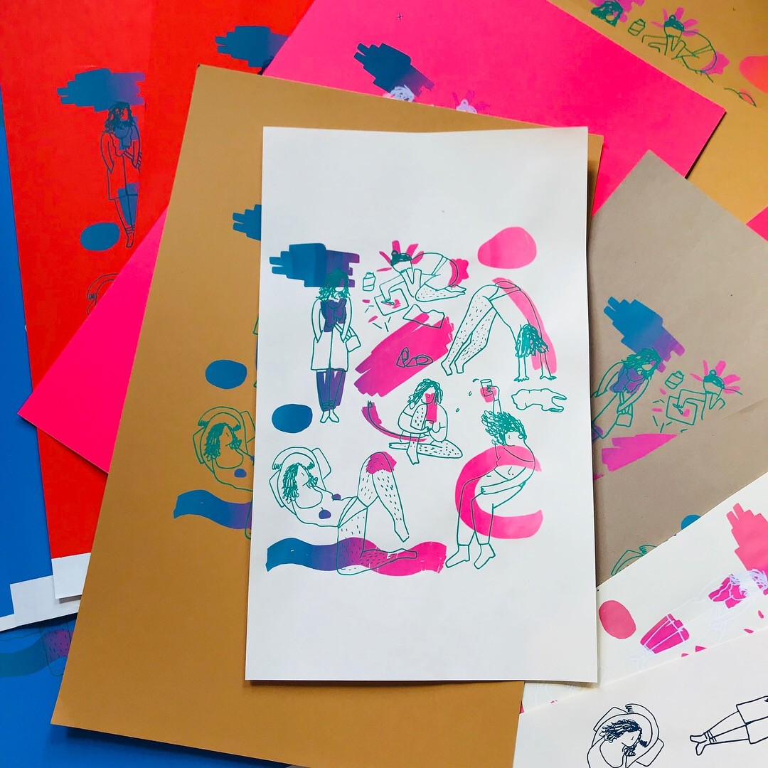 A pile of screen prints of same design. Design includes same figure is various poses such as dancing, lounging, on phone, babysitting etc. Colorful marks in pink and blue surrounding figures.
