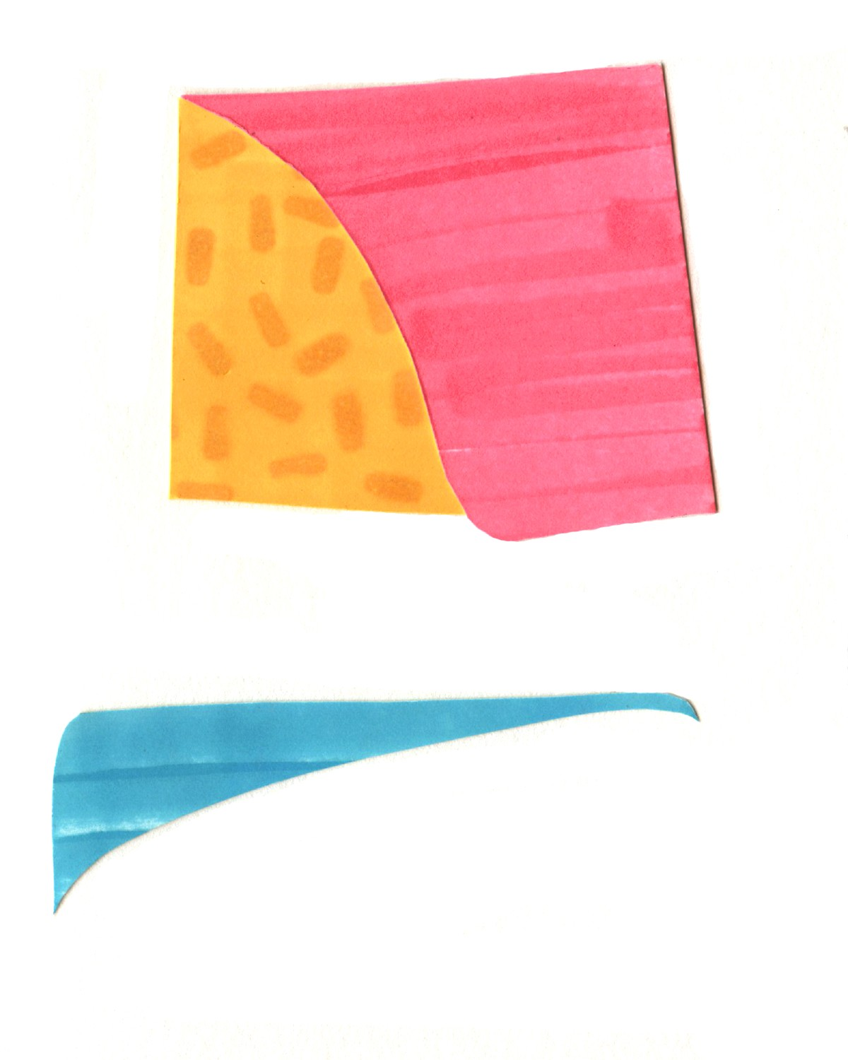Collage with basic pink/yellow/blue shapes that illustrate girl looking sideways.