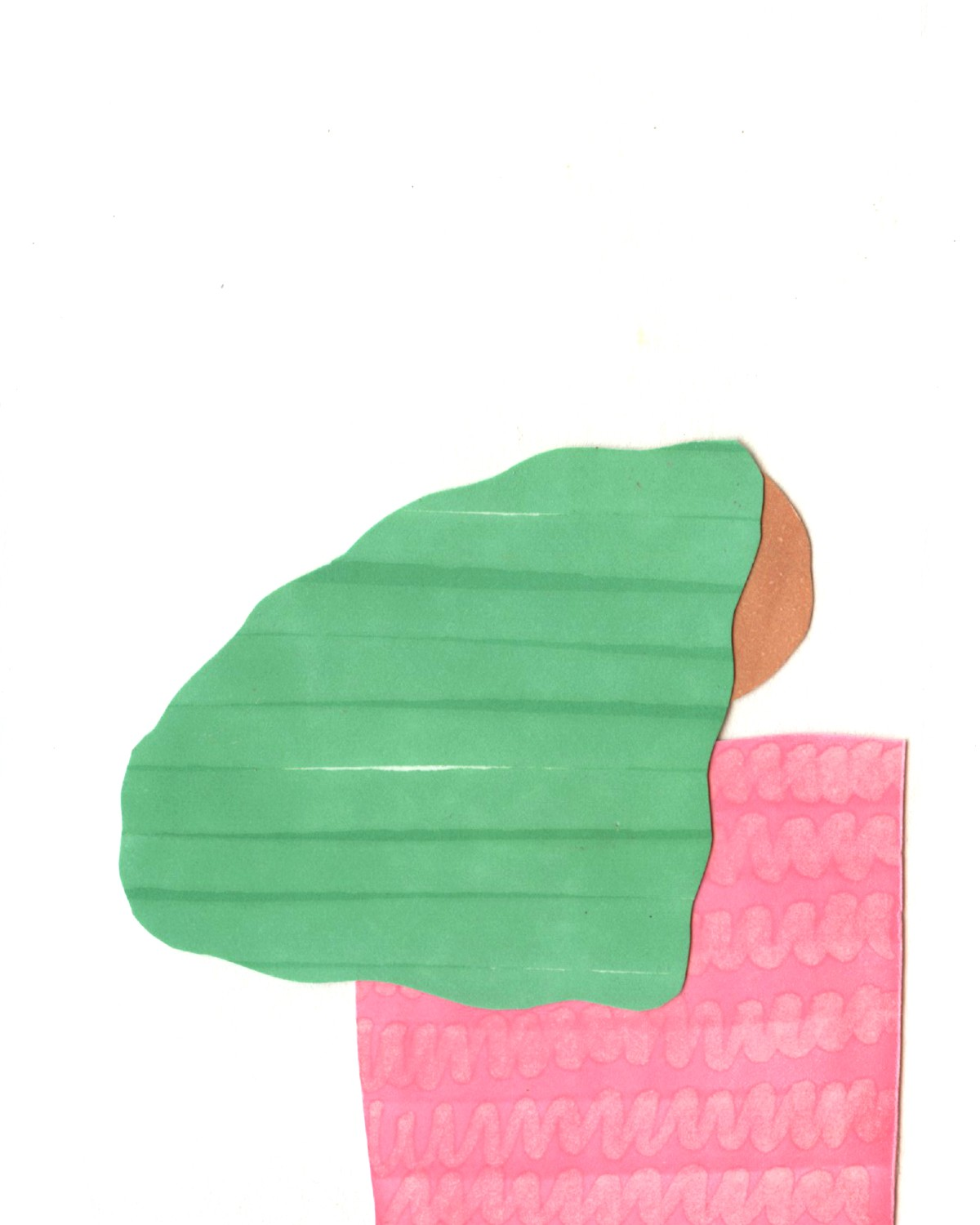 Collage with basic pink/brown/green shapes that illustrate girl with back towards viewer.