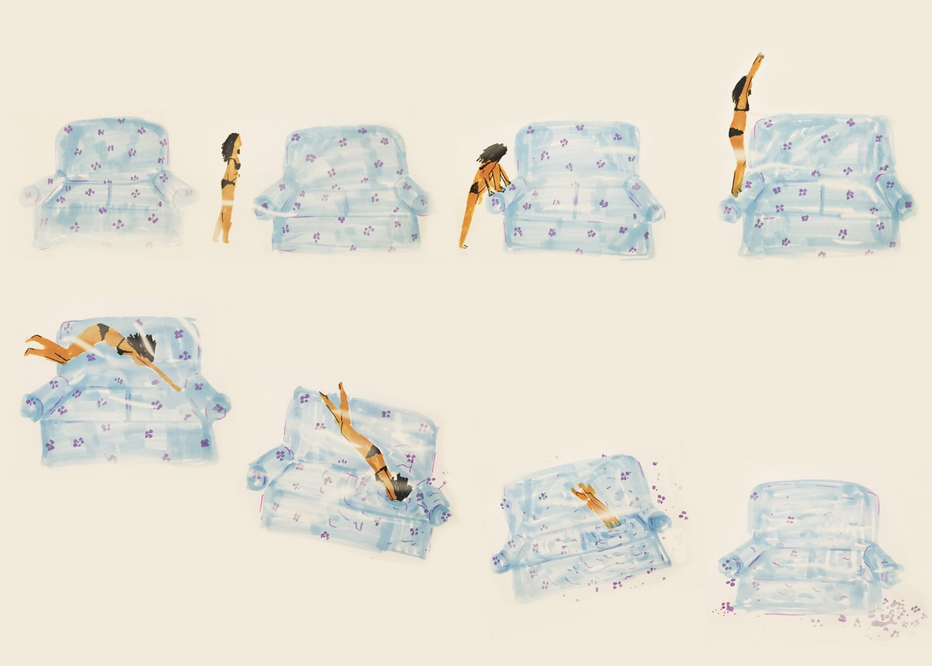 A series of images that illustrate a girl standing on the side of her blue couch and diving/disapearing into it. After she dives, the floral pattern of couch is scattered on the ground. Tan background.