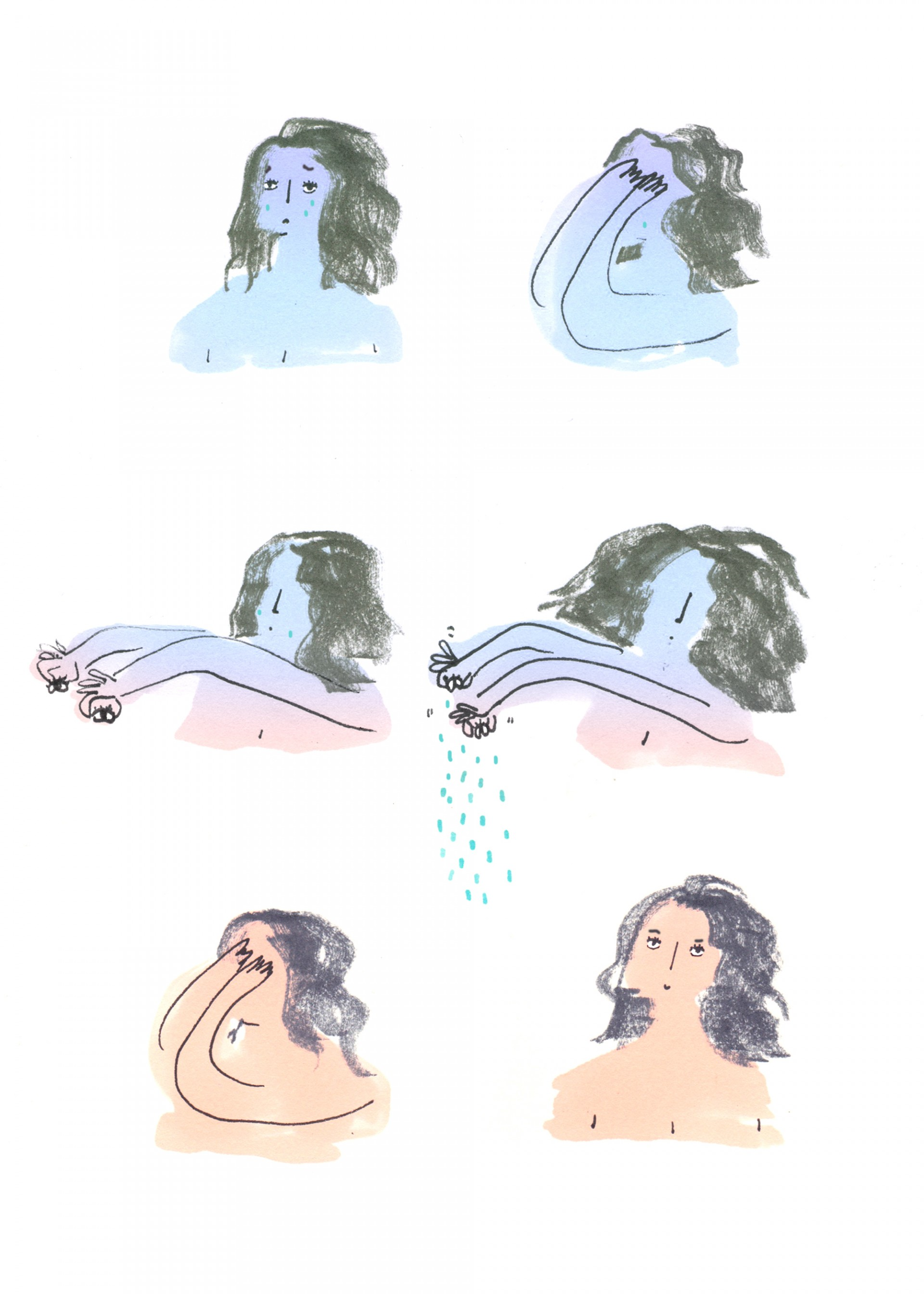 Illustration that depicts a girl who is sad, then plucks out her eyes, squeeze out the tears then puts her eyes back in and she appears happy. The color of her skin shifts from blue to tan.