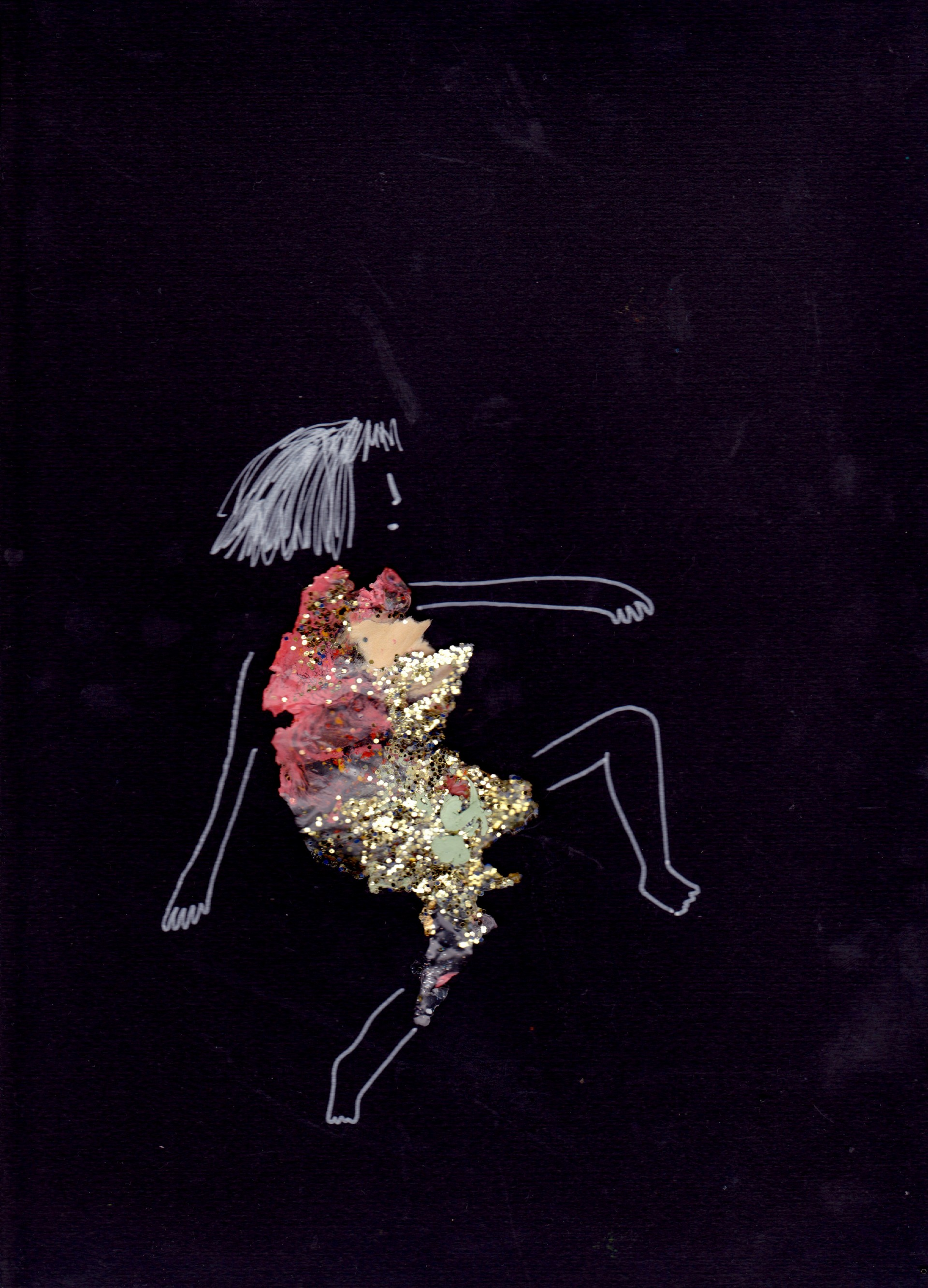 Girl in dancing position. Dress made of glitter. Legs, arms and face drawn in silver paint pen. Black background.