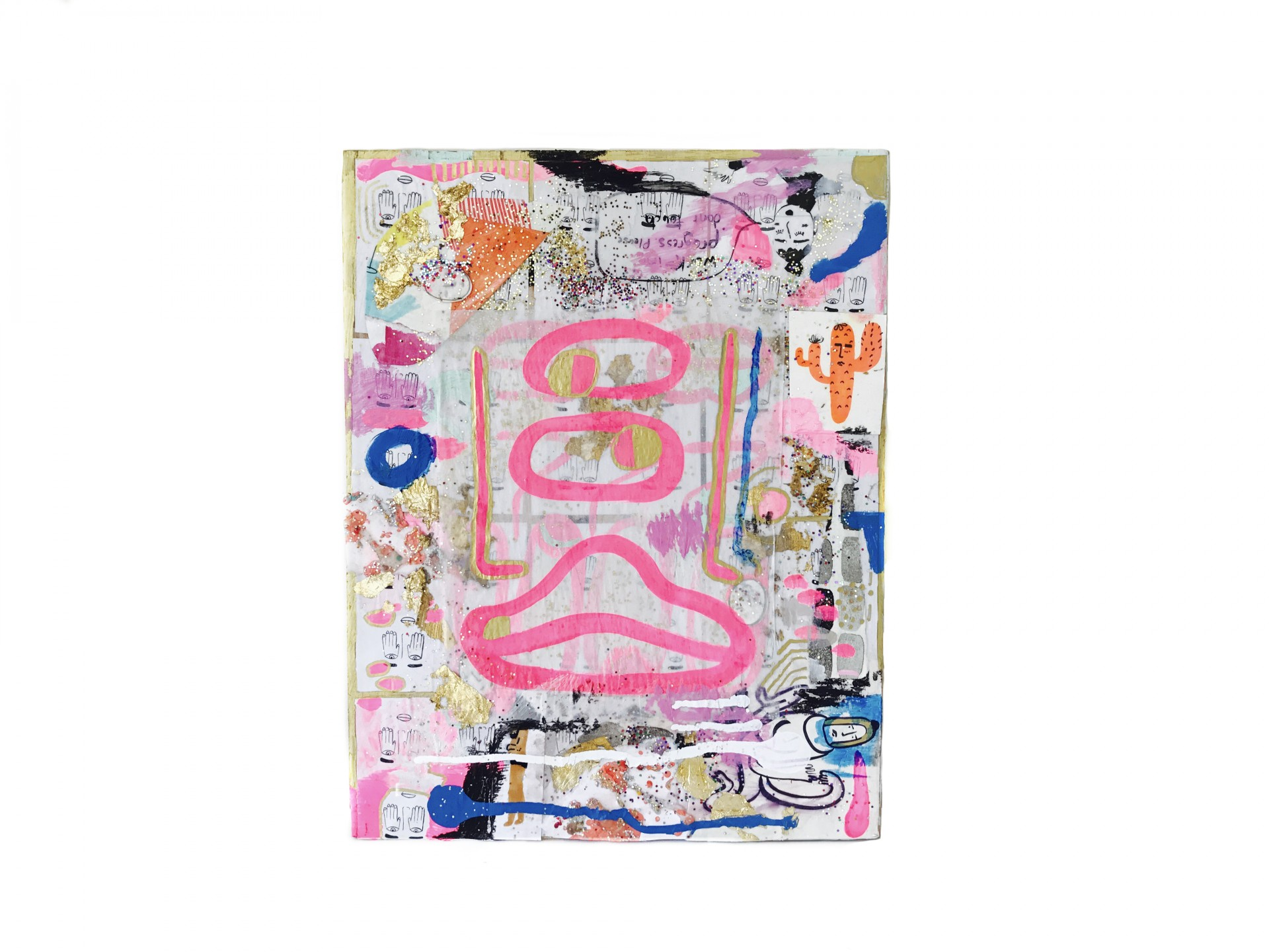 Rectangular painting with abstract designs, collaged materials and glitter. Image of face with one eye drawn in pink.