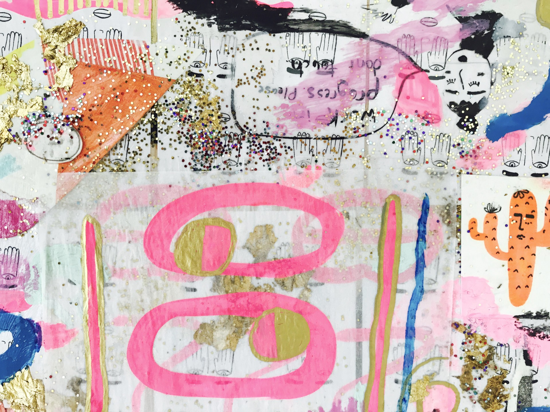 Painting detail that includes collaged images and glitter.