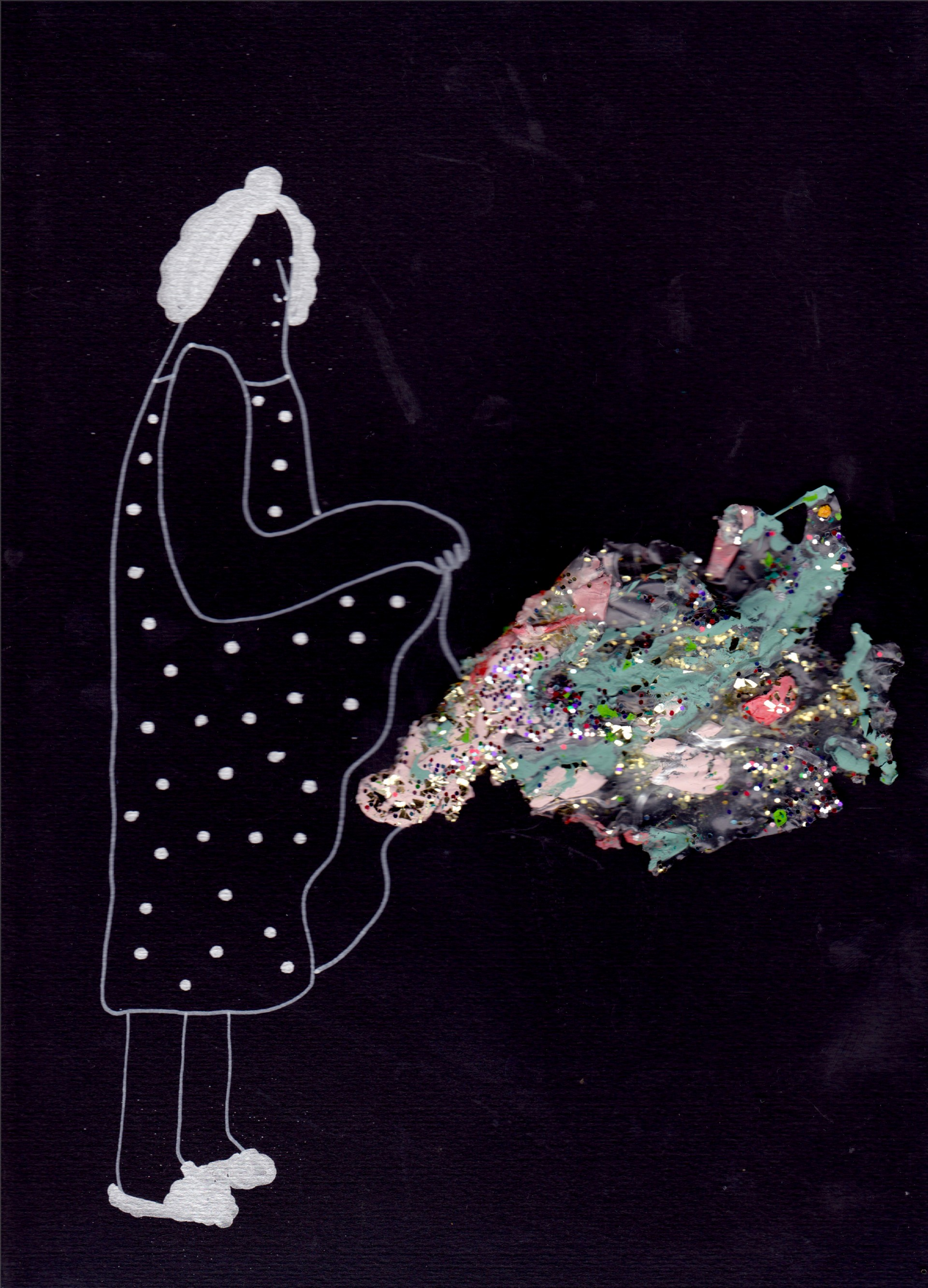 Woman wearing polka dot dress and fuzzy slippers holding up dress with glitter mass coming out from underneath. Lines drawn in silver paint pen. Black background.