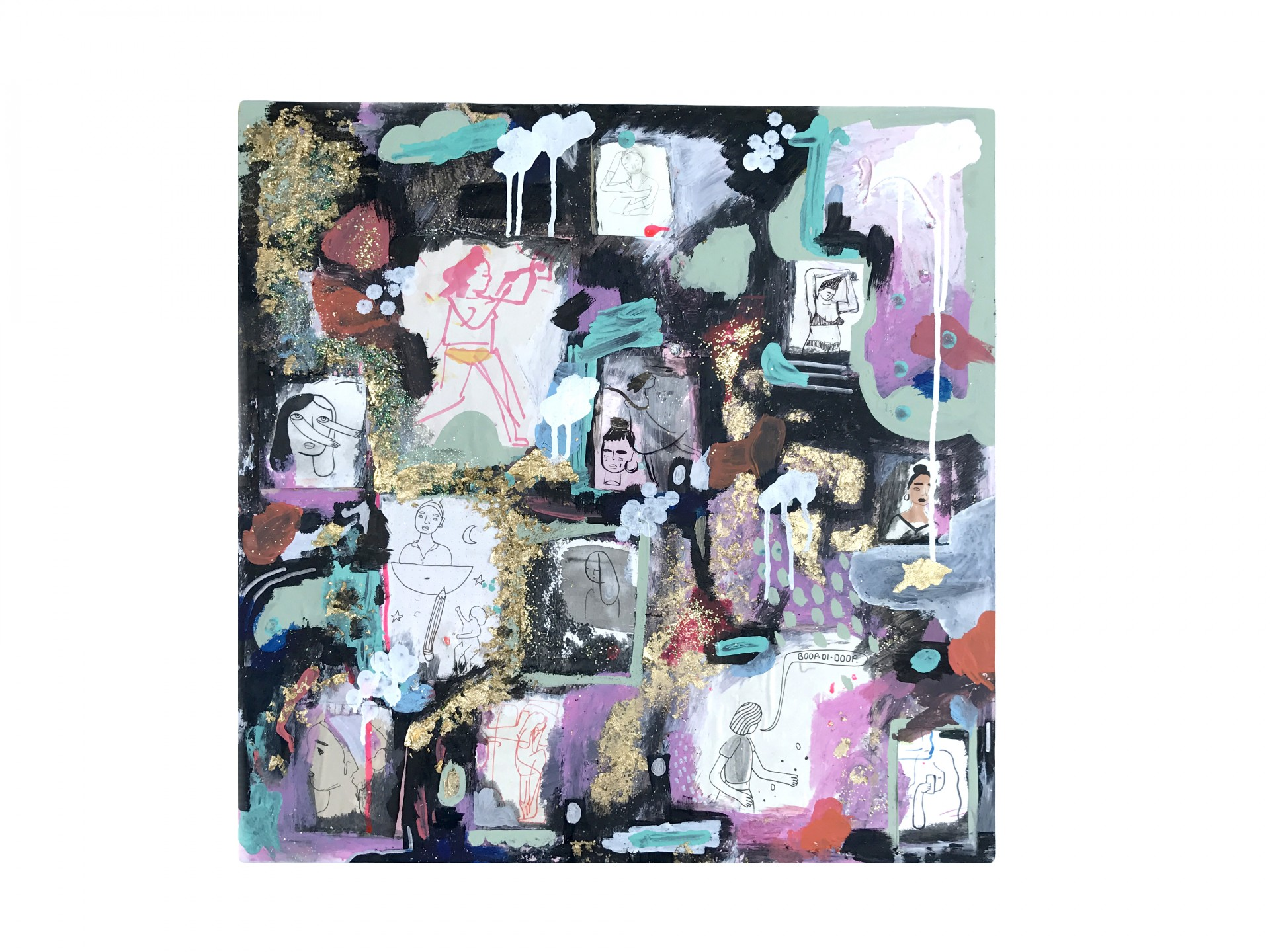Square painting with collaged self portraits on top. Painting includes black, pink and turquoise paint.