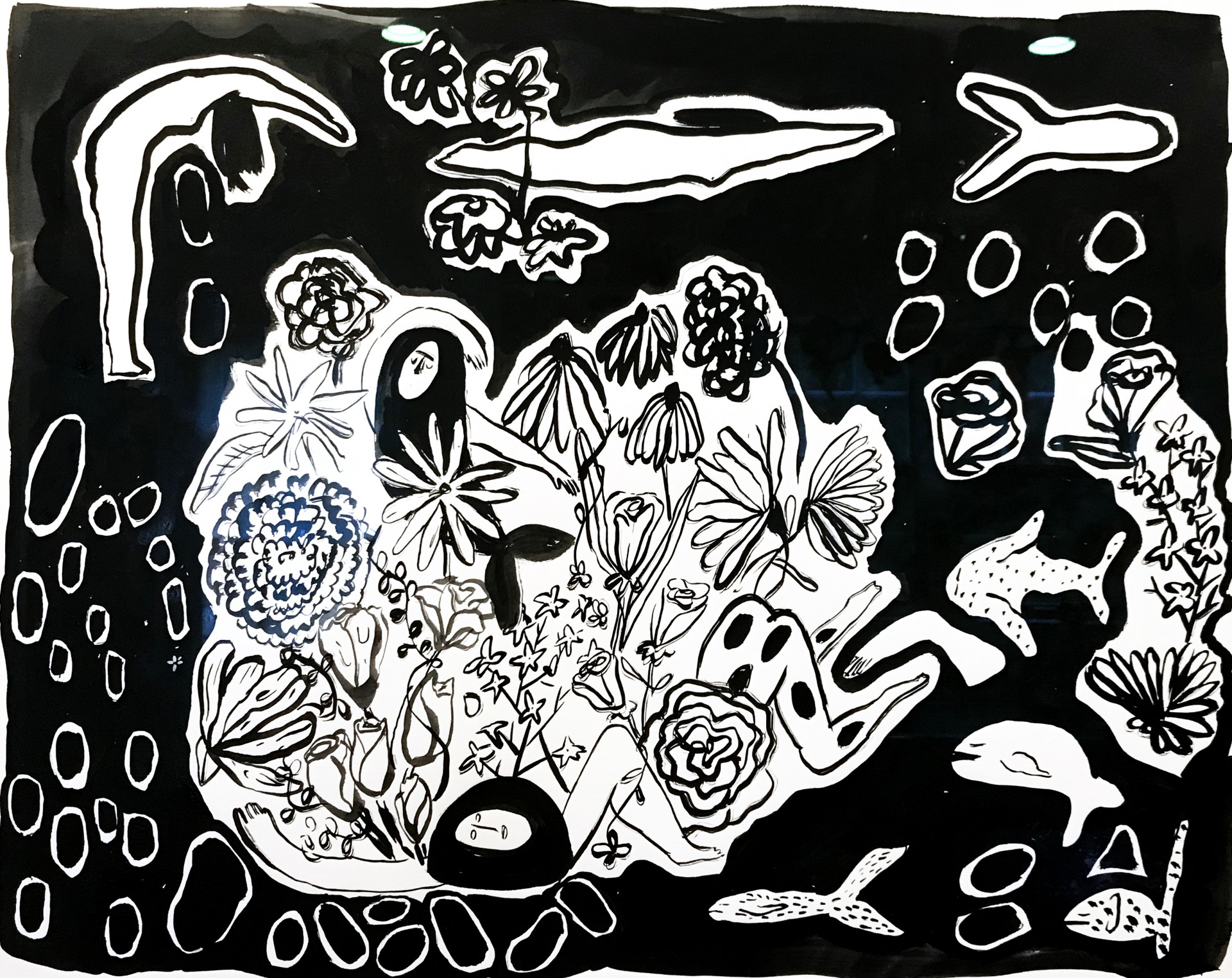 Central composition of flowers and figures. Figure transforming into fish. Elements of fish and circles on edge of painting