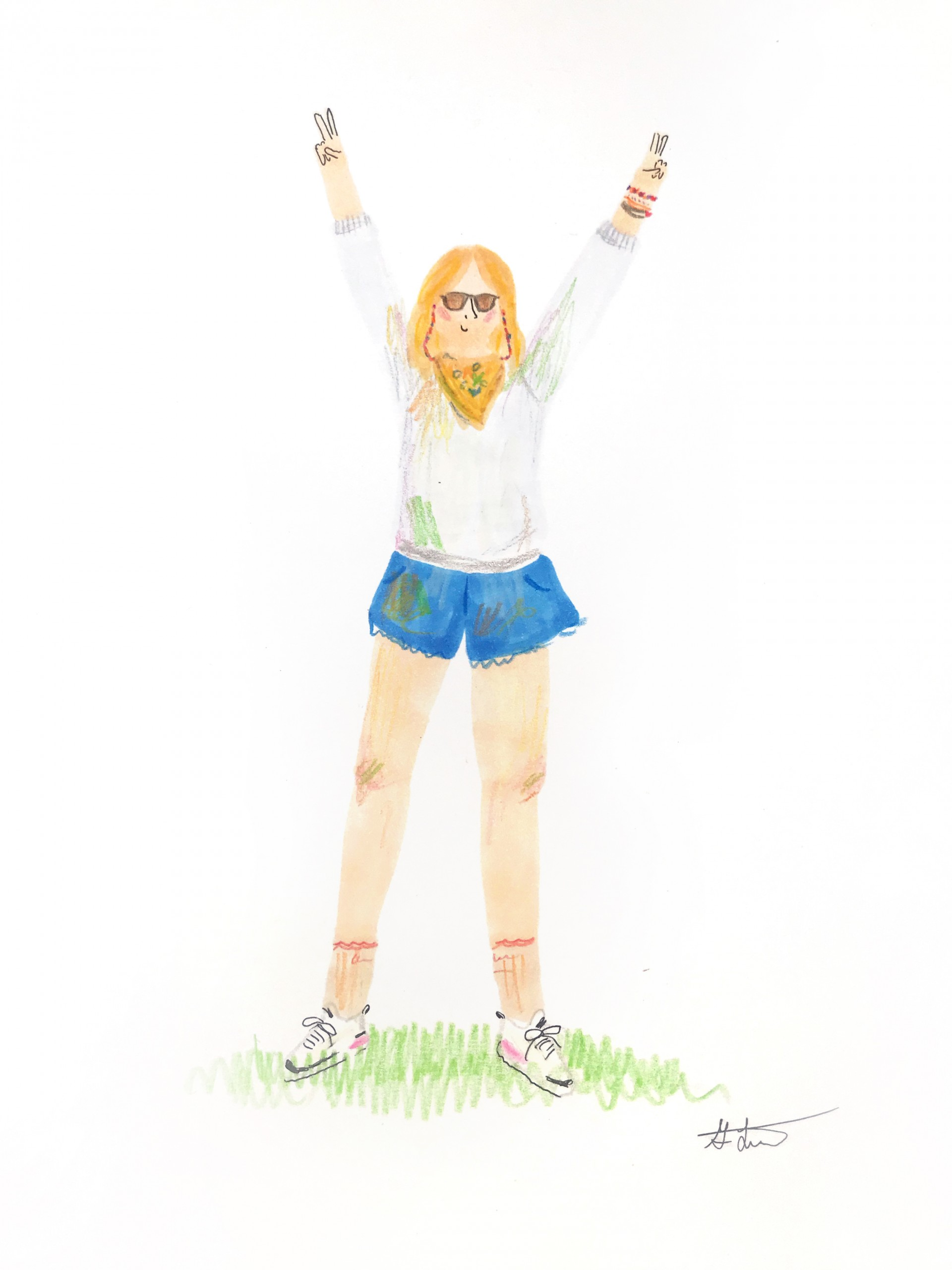 Full body drawing of girl with jean shorts, yellow bandana around neck, sunglasses. Both hands are above head in peace signs.