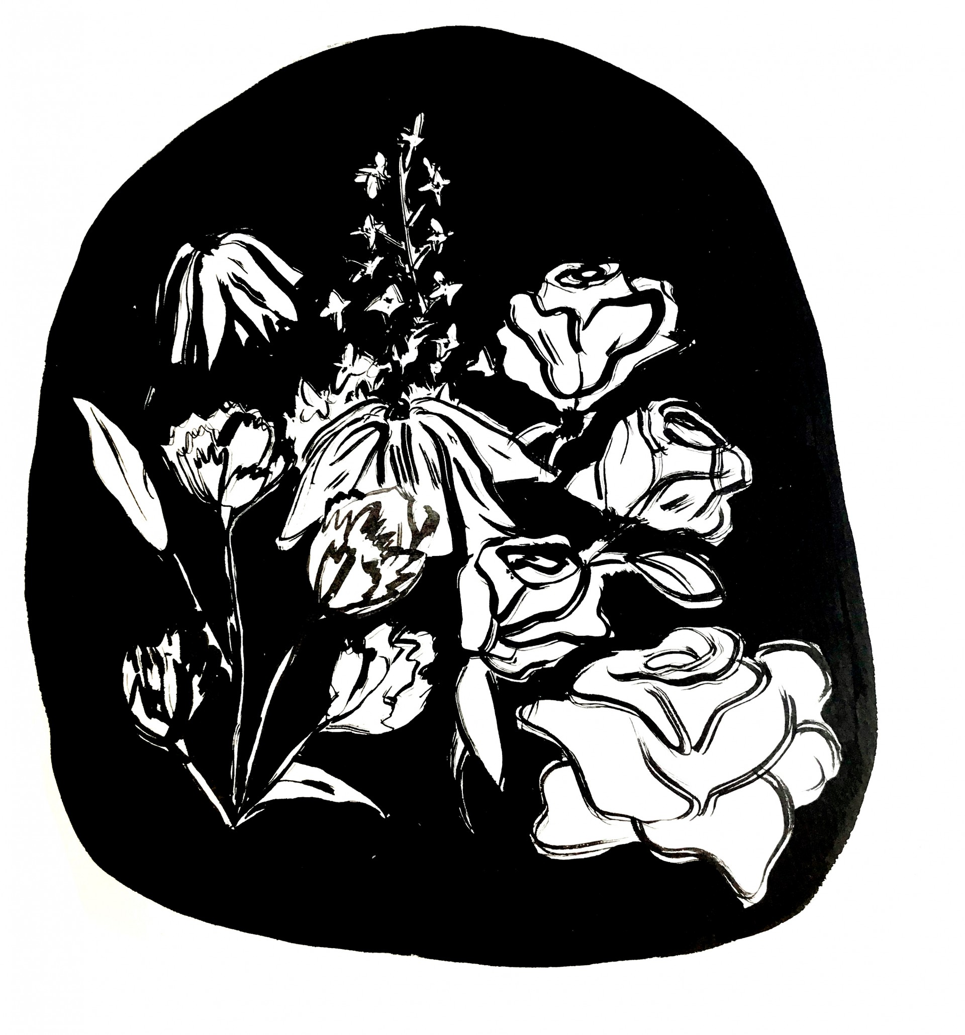 Flowers painted in black ink