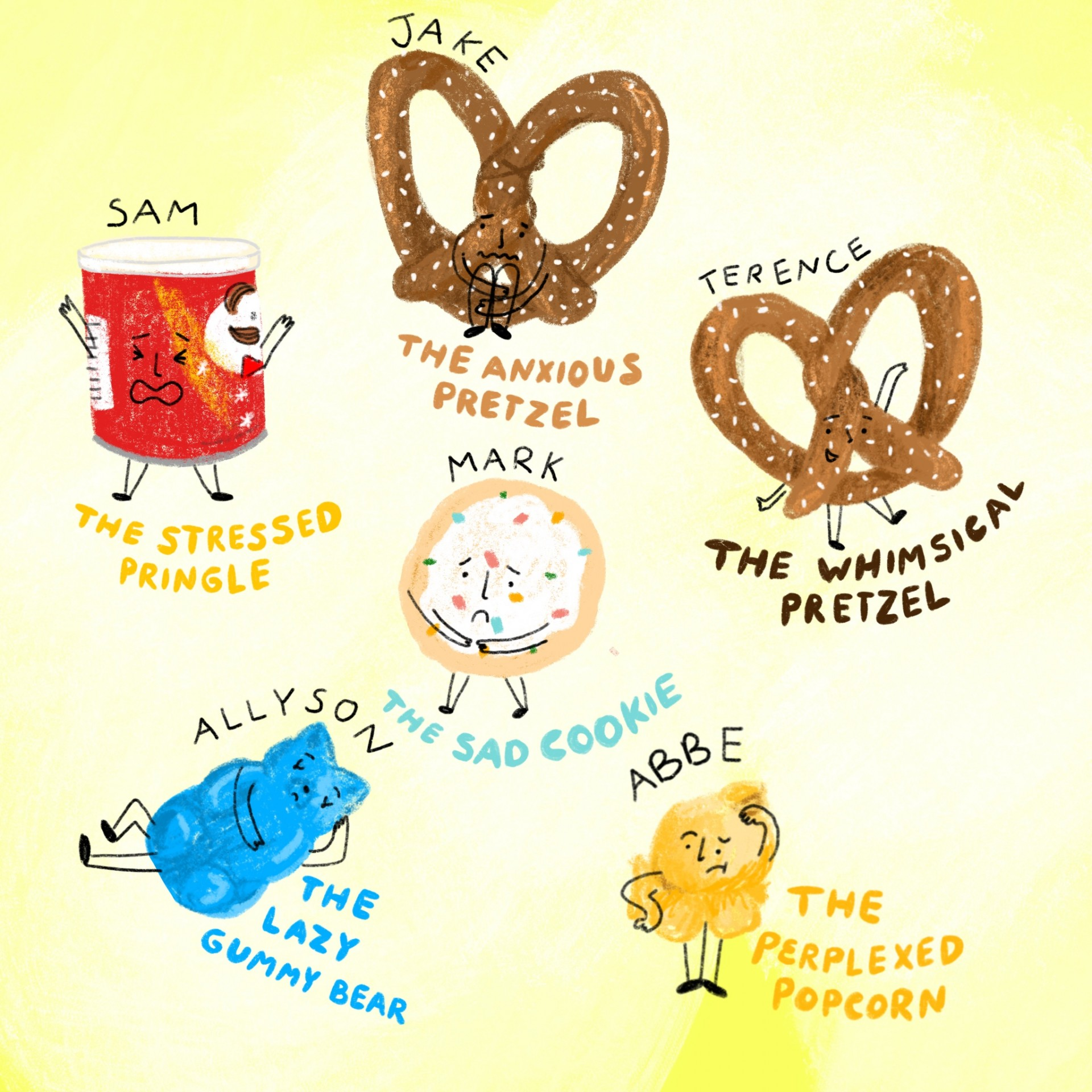 An assortment of drawings of emotional foods. Each drawing has a name and a description written underneath. Yellow background and illustrations are drawn in color