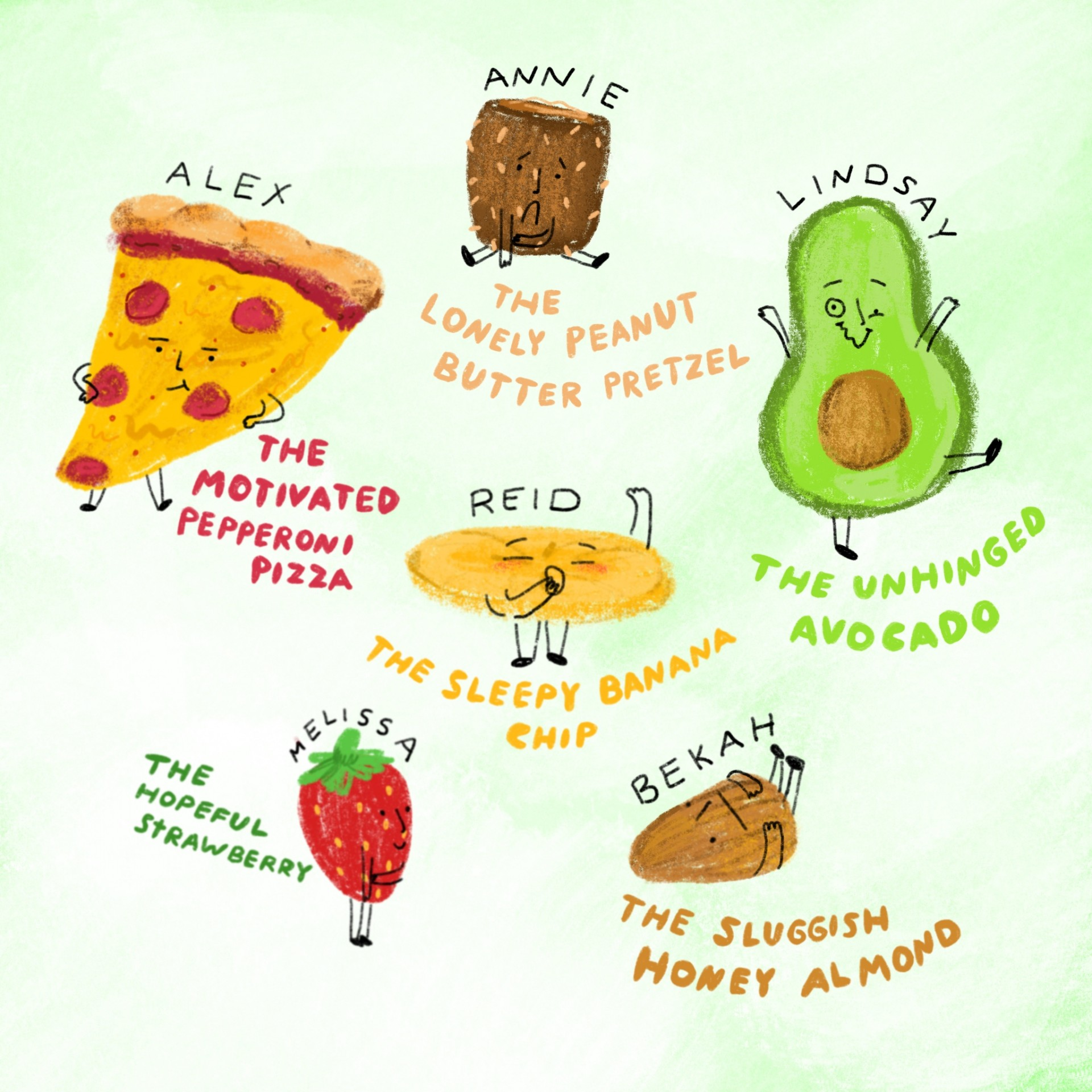 An assortment of drawings of emotional foods. Each drawing has a name and a description written underneath. Green background and illustrations are drawn in color