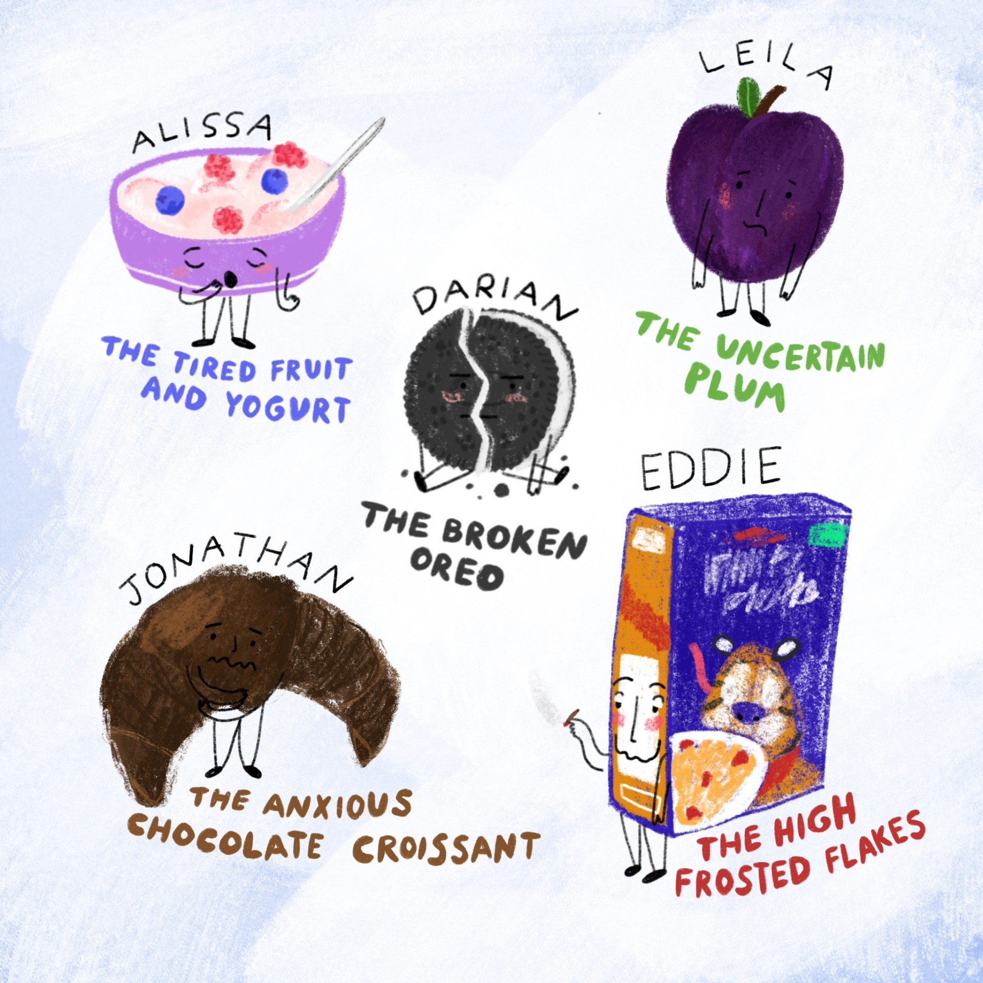 An assortment of drawings of emotional foods. Each drawing has a name and a description written underneath. Blue background and illustrations are drawn in color