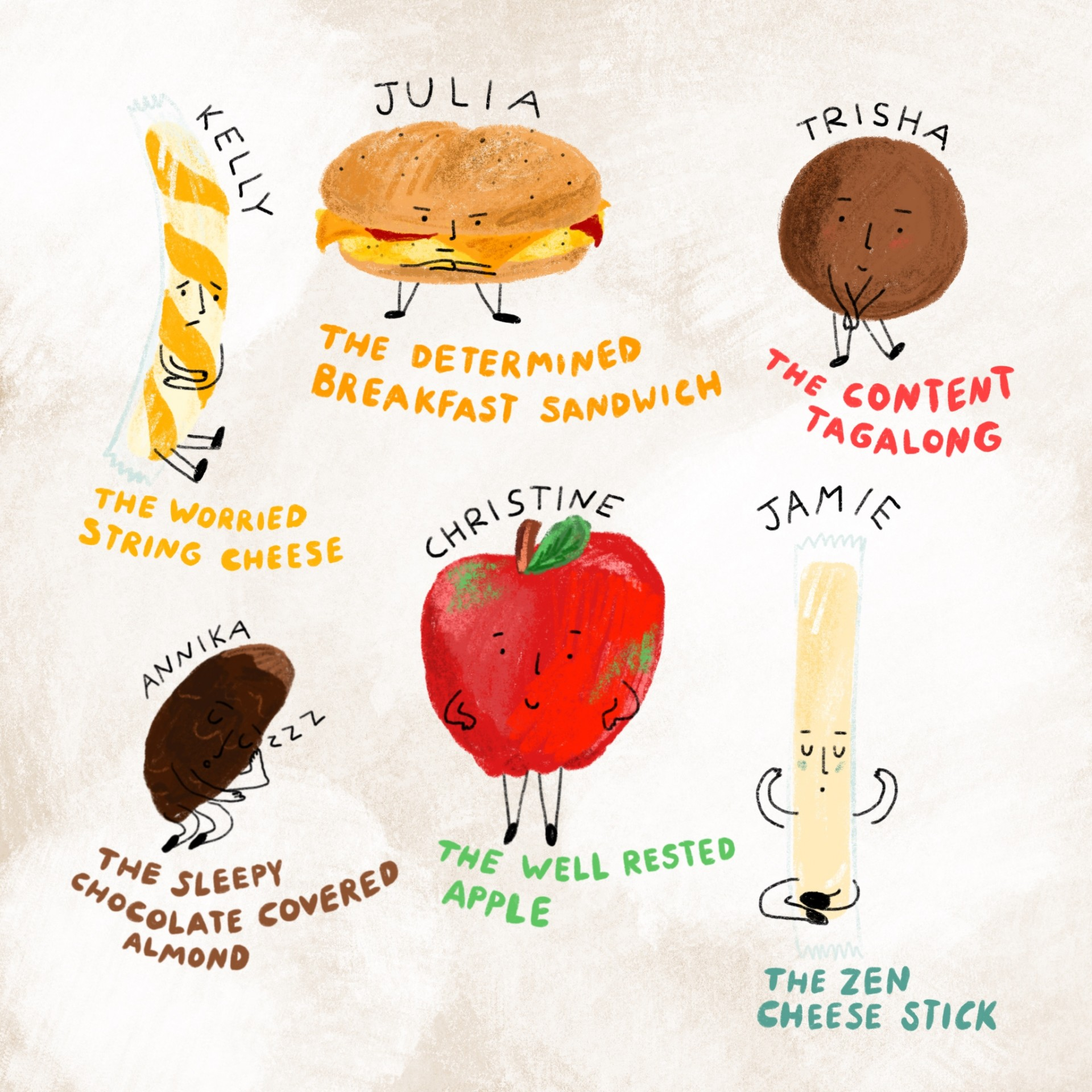 An assortment of drawings of emotional foods. Each drawing has a name and a description written underneath. Brown background and illustrations are drawn in color