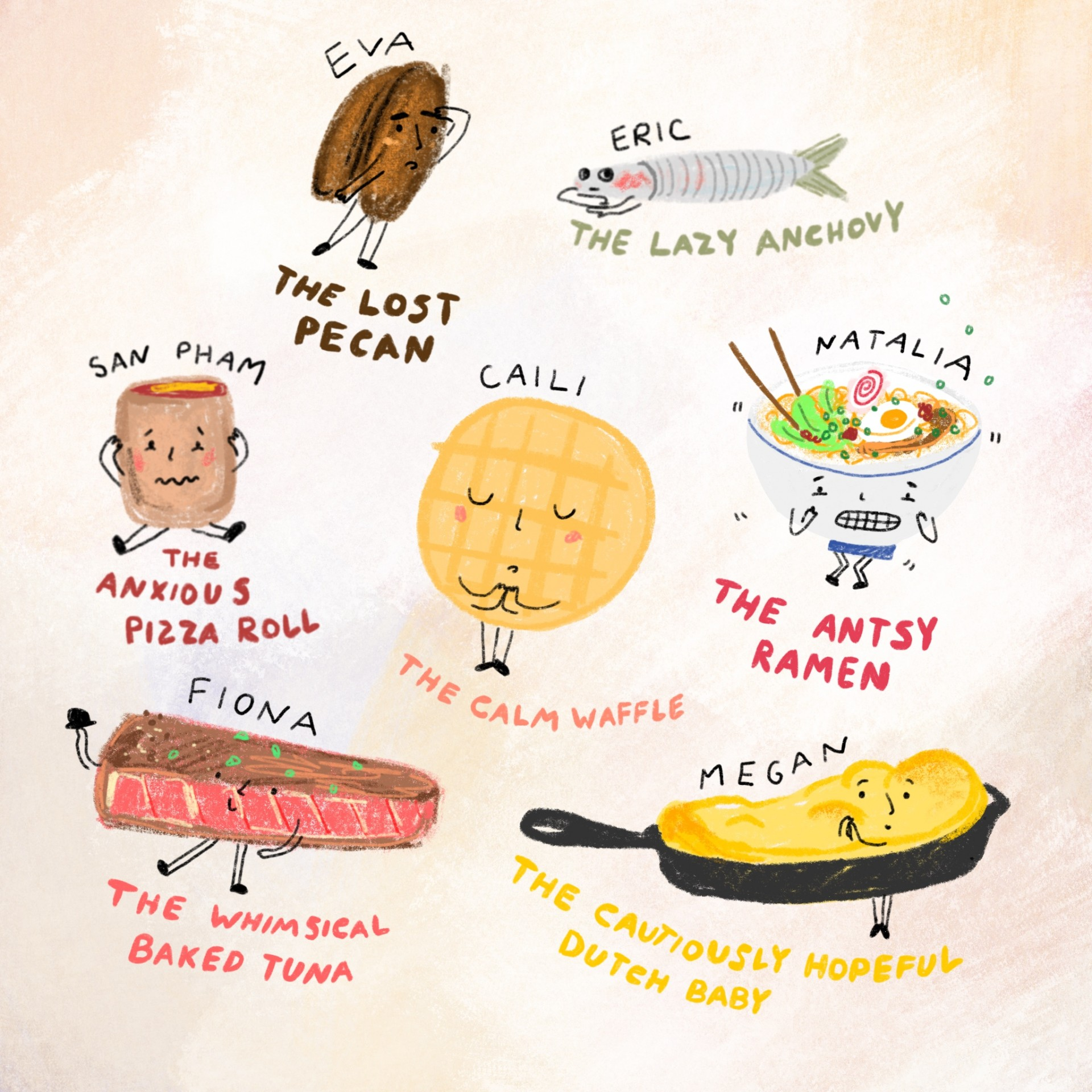 An assortment of drawings of emotional foods. Each drawing has a name and a description written underneath. Tan background and illustrations are drawn in color