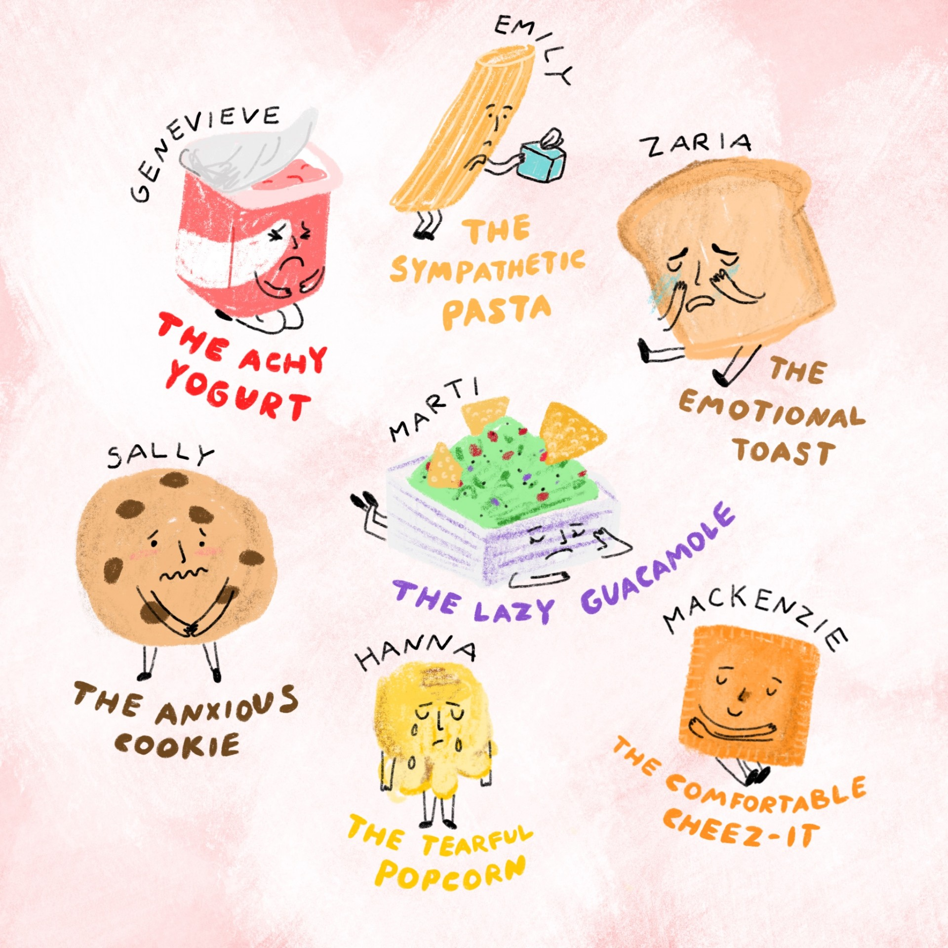 An assortment of drawings of emotional foods. Each drawing has a name and a description written underneath. Magenta background and illustrations are drawn in color.