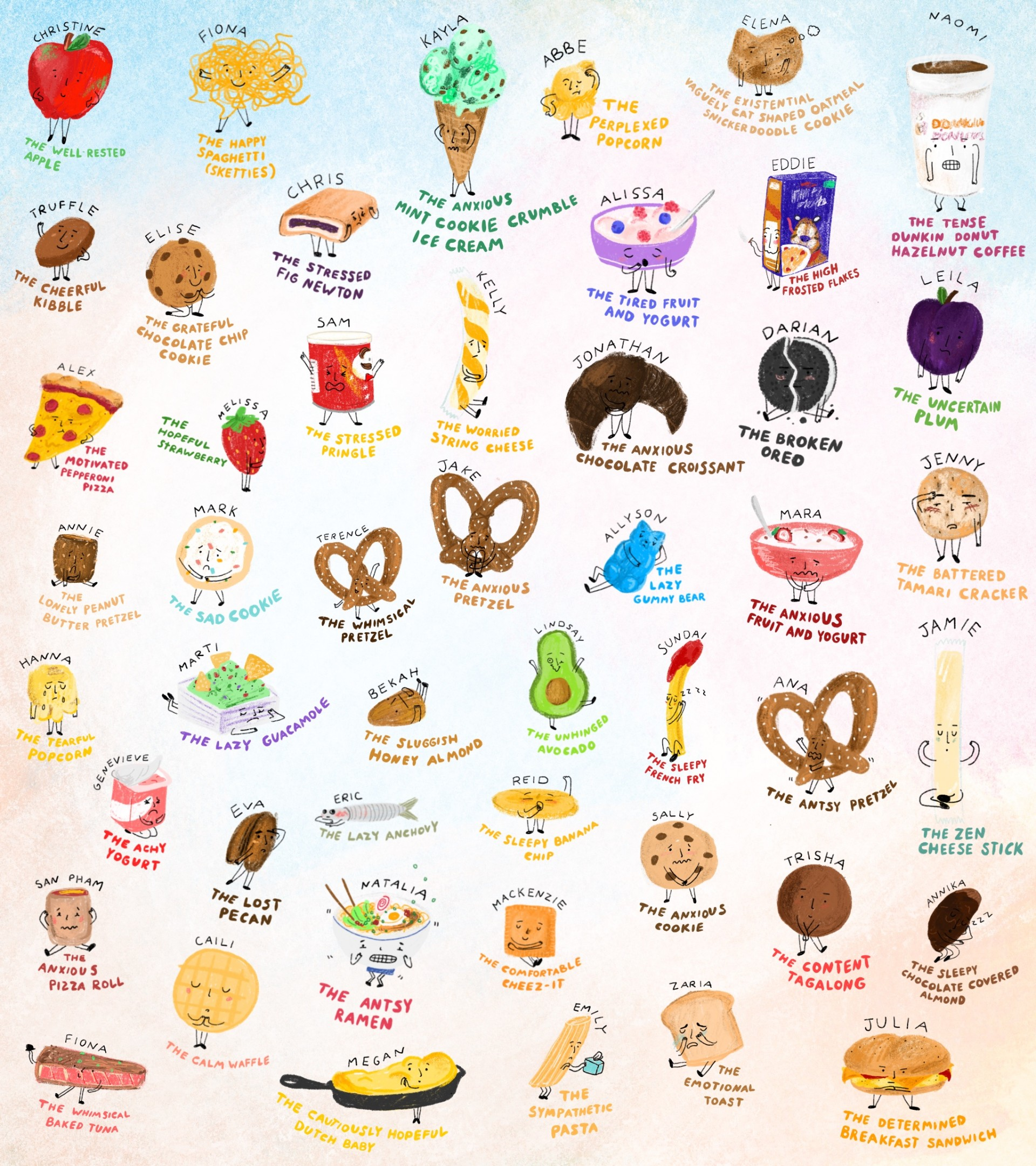 48 small drawings of emotional foods. Each drawing has a name and a description written underneath. White background and illustrations are drawn in color.